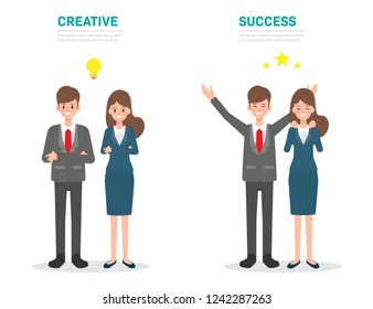 Creative people and Success people character. Business people in job design.