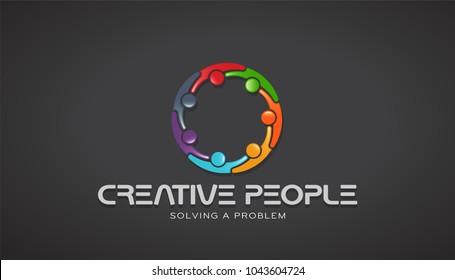 Creative People Together Brainstorming. Vector Design
