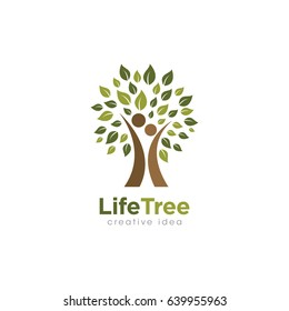 Creative People Tree Concept Logo Design Template