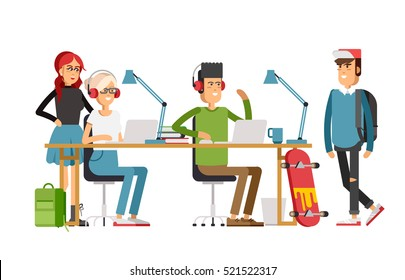 Creative people working in co working office. young adult man and woman working on idea behind the desk listening music. Freelance workers.