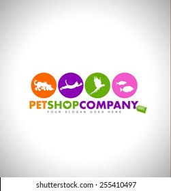 Creative Pet Shop Logo Design Concept. Animals icons. Colorful Pet-Shop Icon Design.