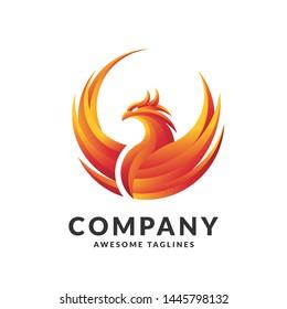 creative phoenix color logo design concept