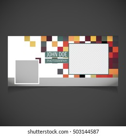Creative Photography banner template. place for image. Photography Facebook Cover. Editable timeline cover template. geometric pixel Corporate facebook cover background. Vector illustration