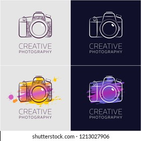 """Creative Photography. Graphic design in sketchy style on the subject of """"Professional Creative Activity"""""""