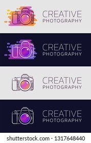 """Creative Photography. Set of graphic designs in sketchy style on the subject of """"Professional Creative Activity""""."""