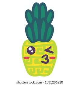 Creative pineapple kissing emoji hand drawn illustration. Winking kawaii tropical fruit emoticon