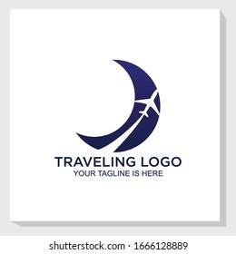 creative plane logo template design vector, traveling logo vector