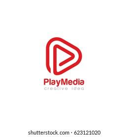 Creative Play Media Concept Logo Design Template