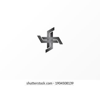 Creative plus concept logo design template