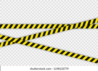 Creative Police line black and yellow stripe border. Concept of barricade, danger and crime. Construction sign. Vector illustration on the transparent background.