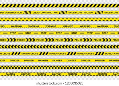 Creative Police line black and yellow stripe border. Police, Warning, Under Construction, Do not cross, stop, Danger. Set of danger caution seamless tapes. Crime places. Construction sign