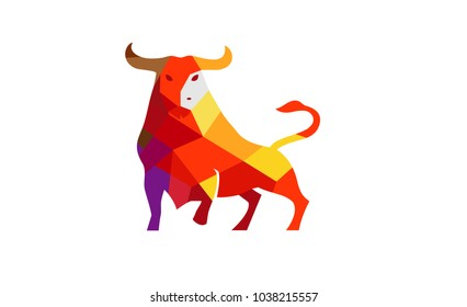 Creative Polygonal Bull Logo Symbol Design Illustration