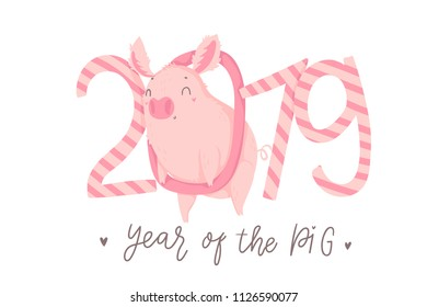 Creative postcard for New 2019 Year with cute pig. Concept, vector vertical editable template. Symbol of the year in the Chinese calendar. Cartoon. Isolated. Vector illustration. Year of yellow pig