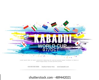 Creative poster or Banner design with participant country flag on grungy background for kabaddi championship League concept.