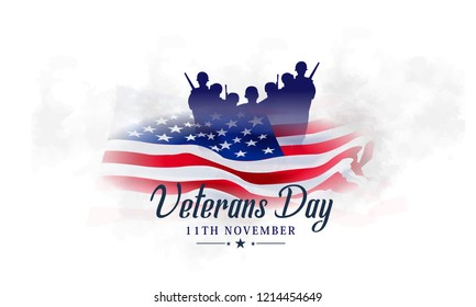Creative poster banner design for veterans day with flag, Honoring all who served. November 11