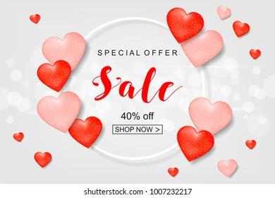 Creative Poster, Banner or Flyer design of Sale. Happy Valentine's Day celebration. Saint Valentine's day concept