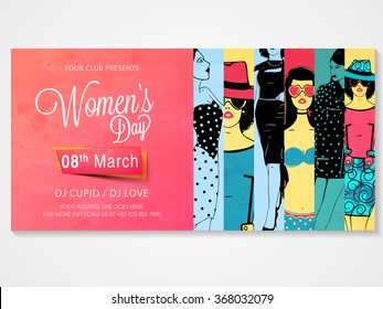 Creative poster, banner or flyer design with illustration of young girls for Women's Day Party celebration.