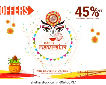 Creative Poster Or Banner Of Indian Festival Navratri Celebration,Big Navratri sale offers background.