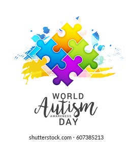 Creative Poster Or Banner Of World Autism Awareness Day.