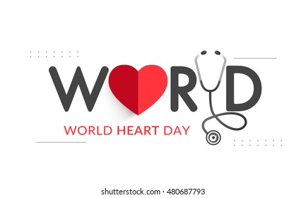 Creative poster or banner of world heart day.