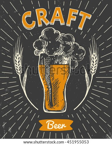 creative poster craft beer retro style stock vector royalty free