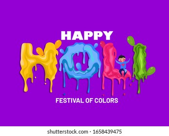 Creative Poster design  Color Splash holi design with a cute liitle boy playing holi.