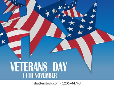 Creative poster design for veterans day with text and stars. November 11