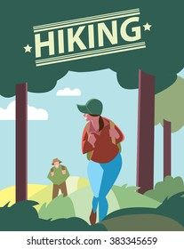 Creative poster or flyer of backpackers hiking on the path of mountain. Hikers walking, outdoor camping.