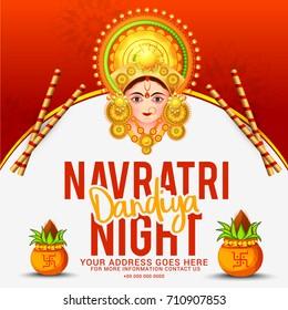 Creative Poster Or Flyer Of Dandiya Celebration,Navratri Dandiya Night Invitation Card Background.