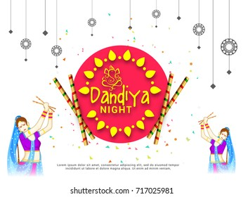 Creative Poster Or Flyer Of Dandiya Invitation Card Background.