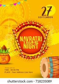 Creative Poster Or Flyer Of Dandiya Invitation Card Background.
