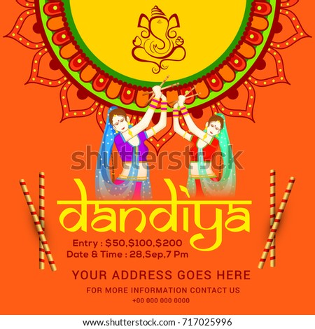 Creative Poster Flyer Dandiya Invitation Card Stock Vector Royalty
