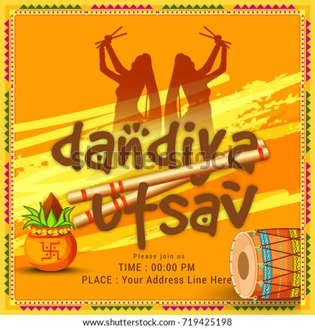 Creative Poster Flyer Dandiya Invitation Card Stock Vector Royalty