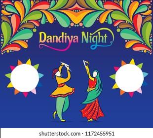 Creative Poster Or Flyer Of Dandiya night Invitation Card design.