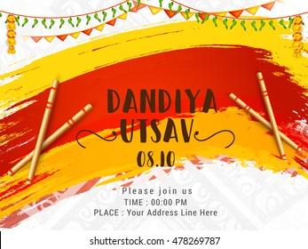 Creative poster or flyer of dandiya utsav celebration festival of navratri puja.
