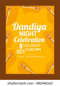 Creative poster or flyer of dandiya utsav celebration festival of navratri.