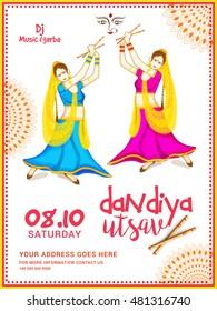 Creative poster or flyer of dandiya utsav,girls playing dandiya occasion of Happy Navratri.
