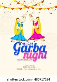 Creative poster or flyer of dandiya utsav,girls playing dandiya occasion of Happy Navratri .