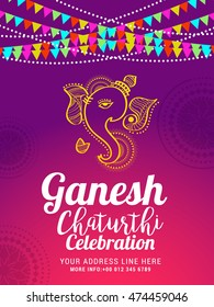 Creative poster or flyer for festival of ganesh chaturthi celebration.