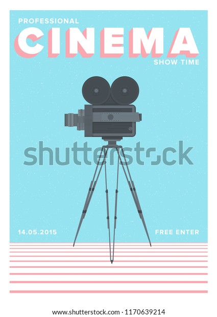 Creative poster, flyer or invitation template for professional cinema show time or motion picture premiere with old film camera standing on tripod. Colorful vector illustration for event promotion.