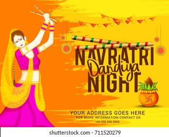 Creative Poster Or Flyer Of Navratri Dandiya Night Invitation Card Background.