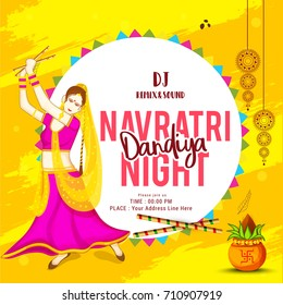 Creative Poster Or Flyer,Festival Of Dandiya Celebration,Navratri Dandiya Night Invitation Card Background.