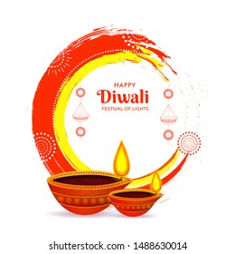 Creative poster or template design with illuminated oil lamps (Diya) on brush stroke effect background for Festival of Lights, Happy Diwali celebration.