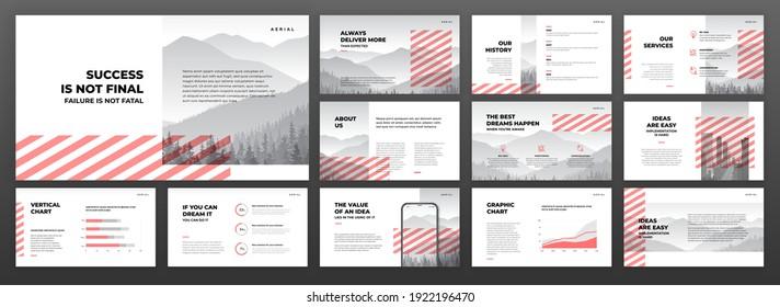 Creative powerpoint presentation templates set. Use for creative keynote presentation background, brochure design, website slider, landing page, annual report, company profile, social media banner.