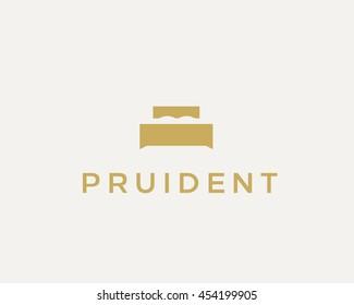 Creative premium furniture logo. Luxury universal interior design logotype idea symbol. Style negative space bed icon sign.