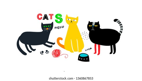 Creative  print with cute colorful cats hand drawn  in cartoon scandinavian style. Vector illustration of domestic animals with toy and fish bone.
