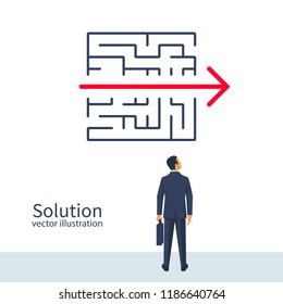Creative problem solving. Businessman standing about wall found way out exit from labyrinth. Business concept. Choice way. Vector illustration flat design. Isolated on background. Achieving the goal.