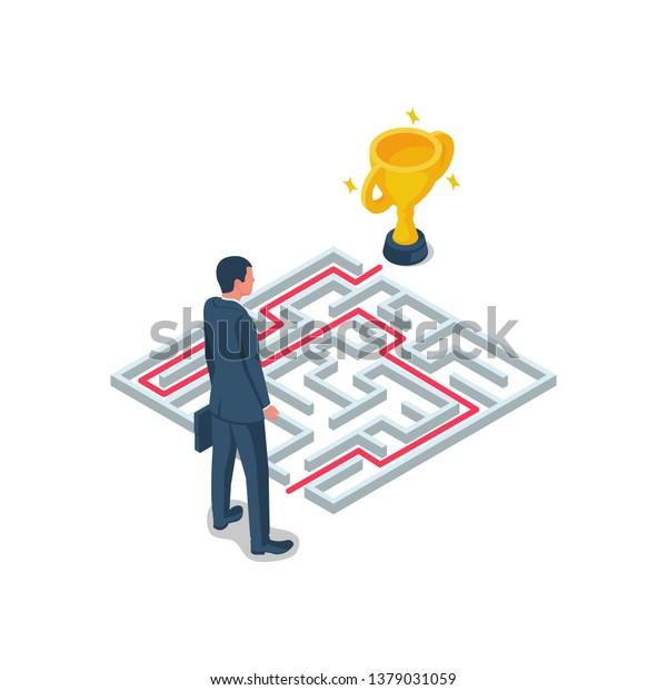 Creative Problem Solving Maze Solution Businessman Stock Vector