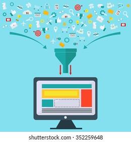 Creative process, big data filter, data tunnel, analysis vector concept