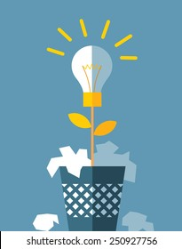 creative process. bulb grow from trash can. business flat vector illustration